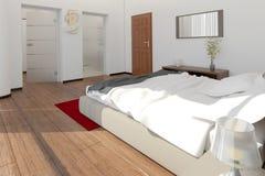 Inre tolkning av ett modernt sovrum Royaltyfri Fotografi