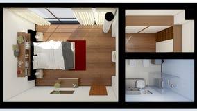Inre tolkning av ett modernt sovrum Royaltyfri Foto
