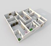 inre tolkning 3d av den möblerade hem- lägenheten Royaltyfri Bild