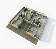 inre tolkning 3d av den möblerade hem- lägenheten Arkivbilder