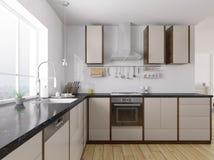 Inre tolkning 3d för modernt kök Fotografering för Bildbyråer
