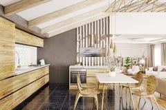 Inre tolkning 3d för modernt träkök Royaltyfria Bilder