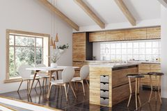 Inre tolkning 3d för modernt träkök arkivbilder