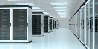 Inre tolkning 3D för serverrumdatorhall Royaltyfri Bild
