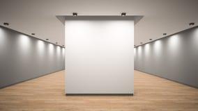 Inre tolkning 3D för tomt galleri stock illustrationer