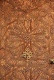 inre trä för dörr specificera marrakesh morocco Fotografering för Bildbyråer