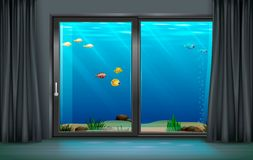 Inre undervattens- hotell vektor illustrationer