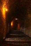 Inre väggar av Krak des-Chevaliers, Syrien Arkivfoto