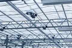 Inre växthus för genomskinligt tak strukturellt glass tak Arkivbild