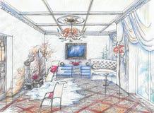 inre vardagsrum Royaltyfri Bild