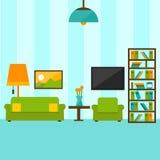 Inre vardagsrum i plan stilillustration vektor illustrationer