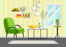 Inre vardagsrum Möblemang och hem- dekor vektor illustrationer
