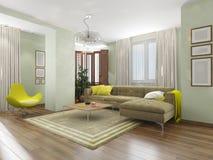 Inre vardagsrum med den gula fåtöljen Royaltyfria Bilder