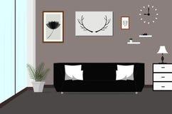 Inre vardagsrum med soffan, lampa, bilder, fönster, plan vektorillustration Royaltyfri Bild