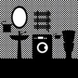 Inre vektorillustration för badrum Hemmiljöer Royaltyfri Bild