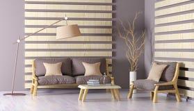 Inredesign av modern vardagsrum med soffan, kaffetabell Arkivbild