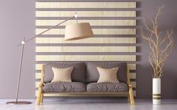 Inredesign av modern vardagsrum med soffan, tolkning 3d Arkivbilder