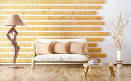 Inredesign av modern vardagsrum med soffan, tolkning 3d Royaltyfri Fotografi