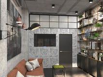 Inredesign av studien i kontoret för huvudet i vindstilen visualization 3D av kabinettet Arkivfoto