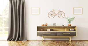 Inredesign av vardagsrum med den trätolkningen för serveringsbord 3d royaltyfri illustrationer