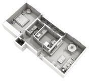 Inredesign - utgångspunkt för lera 3d - hemtrevlig lägenhet Royaltyfria Foton