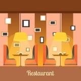 Inredesignen av restaurangen i en plan stil Royaltyfri Bild