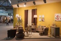 Inredning på skärm på HOMI, internationell show för hem i Milan, Italien royaltyfria foton