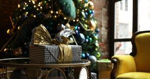 Inregarnering för jul och för nytt år arkivfilmer