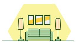 Inrelägenhetstil med en grön soffa, lampor och målningar på th stock illustrationer