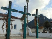 INRI στο Μεξικό, τρεις σταυροί Στοκ φωτογραφία με δικαίωμα ελεύθερης χρήσης