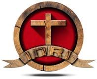 INRI - Drewniana ikona z krzyżem Zdjęcia Royalty Free