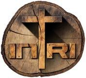 INRI - Drewniany krzyż na Drzewnym bagażniku Zdjęcia Royalty Free