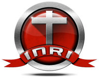 INRI - Red and Metal Icon with Cross Royalty Free Stock Photography