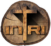 INRI - Wooden Cross on Tree Trunk. Wooden Christian cross on a section of tree trunk with text INRI, Jesus of Nazareth the king of the jews in Latin. Isolated on royalty free illustration