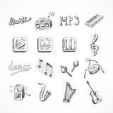 inrista kläckt vektor för stil för symbolsillustrationmusik set Arkivbild