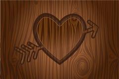 inristad hjärtatreevektor Vektor Illustrationer