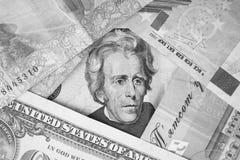 Inristad stående av Andrew Jackson på en USA tjugo dollarräkning Arkivbild
