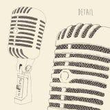 Inristat Retro för studiomikrofon tappning royaltyfri illustrationer