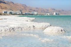 Insättningar av mineraliskt saltar, det döda havet, Israel royaltyfria bilder