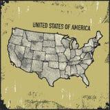 Insígnias afligidas retros com mapa dos E.U. Imagens de Stock Royalty Free