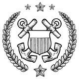 Insígnias da marinha dos E.U. com grinalda Fotos de Stock Royalty Free