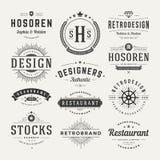 Insígnias retros do vintage ou vetor ajustado Logotypes Foto de Stock