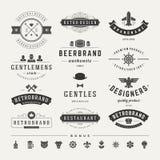 Insígnias retros do vintage ou vetor ajustado Logotypes Imagens de Stock Royalty Free