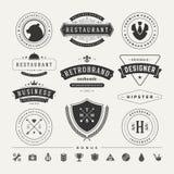 Insígnias retros do vintage ou vetor ajustado Logotypes Foto de Stock Royalty Free