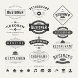 Insígnias retros do vintage ou vetor ajustado Logotypes Imagem de Stock Royalty Free