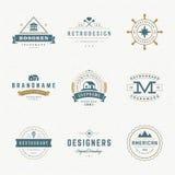 Insígnias retros ou Logotypes do vintage ajustadas Imagens de Stock