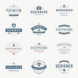 Insígnias retros ou Logotypes do vintage ajustadas Fotografia de Stock Royalty Free