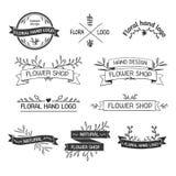 Insígnias retros ou Logotypes do vintage ajustadas com ilustração royalty free