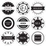 Insígnias retros ou Logotypes do vintage ajustadas Elemento do projeto Fotografia de Stock Royalty Free