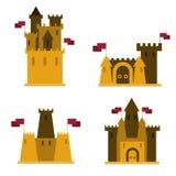 Insabbi i castelli, un insieme di 4 pezzi, con le bandiere su loro illustrazione vettoriale